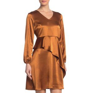 Spense V-Neck Ruffle Polka Dot Dress Copper Satin